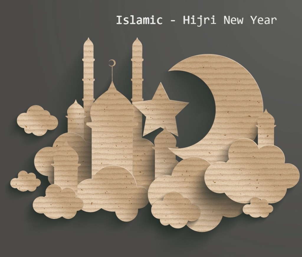 islamic hijri new year with mosque picture